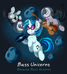 Size: 3320x3683 | Tagged: artist:pridark, cello, dj pon-3, female, male, mare, musical instrument, neon lights, octavia melody, pony, rising star, safe, space, stallion, vinyl scratch