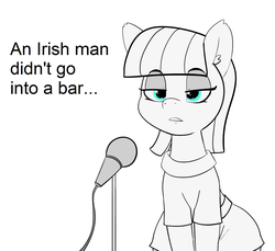Size: 1500x1376 | Tagged: artist:pabbley, earth pony, edit, female, mare, maud pie, maud the comedian, microphone, monochrome, neo noir, open mouth, partial color, pony, safe, stand-up comedy, text