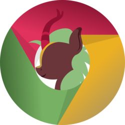 Size: 1500x1500 | Tagged: safe, artist:arifproject, cinder glow, summer flare, kirin, app icon, application, bust, google chrome, horn, lineless, minimalist, modern art, smiling, solo