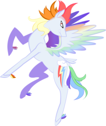 Size: 1074x1280 | Tagged: safe, artist:sleepy--demon, part of a set, rainbow dash, pegasus, pony, leak, spoiler:g5, bird tail, colored wings, female, flying, g5, grin, looking at you, mare, mohawk, rainbow dash (g5), raised hoof, redesign, simple background, smiling, solo, spread wings, tail feathers, transparent background, unshorn fetlocks, wings