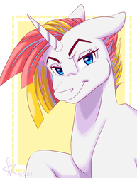 Size: 2550x3300 | Tagged: abstract background, artist:misssakura-senpai, floppy ears, gift art, lidded eyes, looking at you, oc, oc only, oc:rowdy rabble, pony, raised eyebrow, safe, smiling, smirk, solo, unicorn