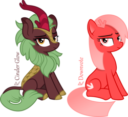 Size: 2800x2572 | Tagged: artist:arifproject, cinder glow, cute, derpibooru, derpibooru ponified, female, kirin, looking at you, mare, meta, oc, oc:downvote, ponified, safe, simple background, sitting, smiling, smirk, summer flare, text, transparent background, vector