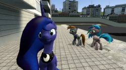 Size: 1750x965 | Tagged: safe, princess luna, oc, oc:homage, oc:littlepip, alicorn, pony, unicorn, fallout equestria, 3d, clothes, distracted boyfriend meme, fanfic, fanfic art, female, hooves, horn, jealous, jewelry, lesbian, mare, open mouth, pipbuck, ponified meme, regalia, tiara, vault suit