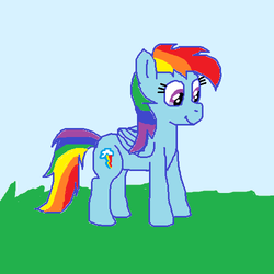 Size: 500x500 | Tagged: artist:m.w., female, mare, ms paint, pegasus, pony, rainbow dash, safe, solo