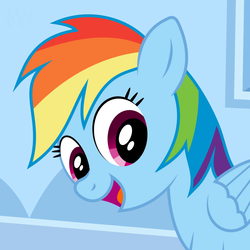 Size: 850x850 | Tagged: artist:m.w., cropped, cute, female, mare, pegasus, pony, rainbow dash, safe, solo