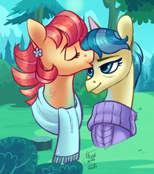 Size: 1600x1800 | Tagged: artist:eeviart, aunt holiday, auntie lofty, bust, clothes, eyes closed, female, kissing, lesbian, lofty day, mare, pony, safe, scarf, shipping, spoiler:s09e12, the last crusade