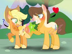 Size: 1280x964   Tagged: safe, artist:kiwi4578, applejack, caramel, pony, carajack, female, male, shipping, straight