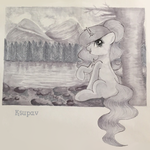 Size: 655x654 | Tagged: source needed, safe, artist:ksupav, oc, oc:ksupav, pony, black and white, cloud, forest, gray background, grayscale, lake, monochrome, mountain, rcf community, rock, simple background, sky, solo, tree