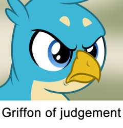 Size: 900x938 | Tagged: angry, artist:badumsquish, bust, crow of judgement, death stare, derpibooru exclusive, frown, gallus, glare, griffon, male, meme, ponified animal photo, portrait, reaction image, safe, show accurate, solo, unamused