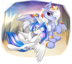 Size: 3400x3000 | Tagged: artist:dreamweaverpony, beautiful, blue hair, blushing, crown, cute, ear fluff, eyelashes, female, fluffy, hug, jewelry, mare, oc, oc:lady diamante, oc only, oc:selene, pegasus, pony, regalia, safe, scar, sphynx, spread wings, wings