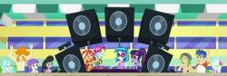 Size: 1280x430 | Tagged: safe, screencap, dj pon-3, flash sentry, lyra heartstrings, octavia melody, paisley, rainbow dash, sandalwood, sci-twi, starlight, sunset shimmer, twilight sparkle, valhallen, vinyl scratch, equestria girls, equestria girls series, i'm on a yacht, spoiler:eqg series (season 2), background human, clothes, cropped, female, glasses, male, partial nudity, ponytail, swimsuit, topless