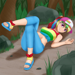Size: 2000x2000 | Tagged: safe, artist:focusb, rainbow dash, human, equestria girls, equestria girls series, spring breakdown, spoiler:eqg series (season 2), clothes, cruise outfit, feet, female, front knot midriff, human coloration, humanized, looking at you, midriff, sandals, sexy, solo, stupid sexy rainbow dash