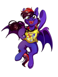 Size: 774x1032 | Tagged: safe, artist:lupiarts, oc, oc only, oc:noctis fructosi junior, bat pony, pony, bat pony oc, camera, clothes, commission, digital art, galacon, shirt, t-shirt
