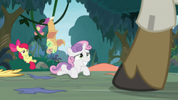 Size: 1920x1080 | Tagged: apple bloom, caught, clothes, costume, everfree forest, fake smile, female, hooves, male, on back, pony, safe, screencap, sheepish grin, spoiler:s09e12, sweetie belle, the last crusade, vine