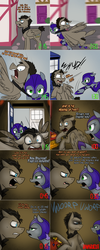 Size: 1502x3758   Tagged: safe, artist:jitterbugjive, doctor whooves, time turner, oc, oc:pun, earth pony, pegasus, pony, ask pun, agent 707, armor, ask, discord whooves, doctor who, female, mare, night guard armor, race swap, tardis