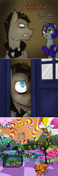 Size: 750x2254   Tagged: safe, artist:jitterbugjive, doctor whooves, time turner, oc, oc:pun, changeling, earth pony, pegasus, pony, ask pun, agent 707, armor, ask, bed, discord whooves, doctor who, fart, female, food, grifon, mare, night guard armor, pizza, race swap, sunglasses, tardis