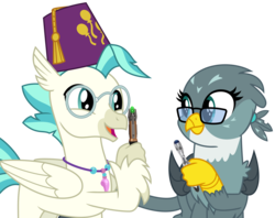 Size: 5321x4223 | Tagged: alternate version, artist:sketchmcreations, classical hippogriff, derpibooru exclusive, doctor who, edit, eleventh doctor, female, fez, gabby, glasses, griffon, hat, hippogriff, looking at each other, male, open mouth, safe, simple background, smiling, sonic screwdriver, spoiler:s09e12, tenth doctor, terramar, the last crusade, transparent background, vector