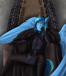 Size: 2399x2755 | Tagged: anthro, anthro oc, artist:blackblood-queen, clothes, commission, male, oc, oc only, oc:umami stale, one eye closed, pegasus, safe, sitting, solo, stallion, throne