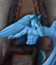 Size: 2399x2755 | Tagged: alternate version, anthro, anthro oc, artist:blackblood-queen, clothes, commission, male, oc, oc only, oc:umami stale, one eye closed, partial nudity, pegasus, safe, sitting, solo, stallion, throne, topless