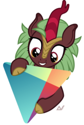 Size: 1800x2699 | Tagged: app icon, artist:arifproject, cinderbetes, cinder glow, cloven hooves, cute, google play, grin, holding, hug, kirin, kirinbetes, looking at something, safe, simple background, smiling, solo, summer flare, transparent background, triangle, vector