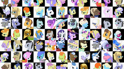 Size: 1280x720 | Tagged: safe, screencap, amethyst star, bon bon, bruce mane, caesar, caramel, count caesar, dainty dove, dane tee dove, derpy hooves, diamond mint, eclair créme, fancypants, fine line, fleur-de-lis, four step, golden gavel, jangles, jet set, lady justice, lemony gem, lucky clover, lyrica lilac, maxie, midnight fun, neon lights, orange blossom, orion, parasol, perfect pace, perry pierce, photo finish, picture frame (character), picture perfect, pish posh, pokey pierce, ponet, pretty vision, prim posy, primrose, rarity, rising star, royal ribbon, sapphire shores, shooting star (character), silver frames, soigne folio, sparkler, stella lashes, swan dive, swan song, sweetie drops, swift justice, upper crust, vance van vendington, earth pony, pegasus, pony, unicorn, sweet and elite, derpy being derpy, elise, female, male, mare, picture frame, stallion, stella, wall of tags