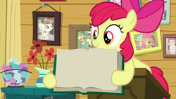 Size: 1920x1080 | Tagged: apple bloom, applejack, babs seed, book, earth pony, edit, edited screencap, featherweight, picture frame, pony, rainbow dash, safe, screencap, spoiler:s09e12, template, the last crusade