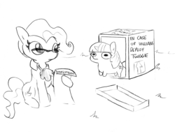 Size: 1737x1314 | Tagged: safe, artist:tjpones, edit, editor:dsp2003, mayor mare, twilight sparkle, earth pony, pony, unicorn, black and white, box, chubbie, cute, female, glasses, grayscale, hoof hold, instructions, lineart, mare, monochrome, paper, simple background, sitting, sketch, smol, traditional art, twiabetes, twiggie, white background