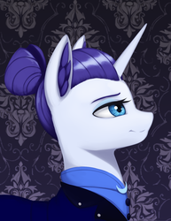 Size: 1491x1936 | Tagged: alternate timeline, artist:mrscroup, bust, female, mare, night maid rarity, nightmare takeover timeline, pony, portrait, profile, rarity, safe, smiling, solo, unicorn