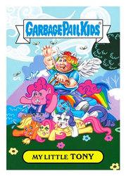 Size: 300x420 | Tagged: safe, applejack, fluttershy, pinkie pie, rainbow dash, rarity, twilight sparkle, fly, human, brony, brony stereotype, fat, garbage pail kids, humans riding ponies, my little tony, pony pile, pony ride, riding, style emulation, tony, wat, wtf