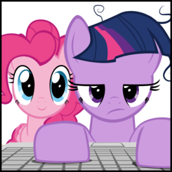 Size: 2000x2000 | Tagged: artist:mrkat7214, earth pony, earth pony twilight, keyboard, messy mane, pegasus, pegasus pinkie pie, pinkie pie, pony, race swap, safe, simple background, twilight sparkle, white background