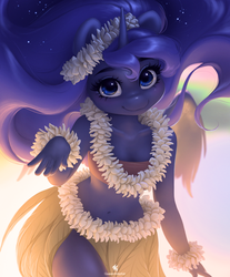 Size: 2155x2608 | Tagged: alicorn, anthro, artist:queen-kittykat, bandeau, bare shoulders, belly button, clothes, cute, female, hula, hula dance, lei, looking at you, lunabetes, mare, midriff, princess luna, safe, smiling, solo
