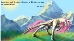Size: 2015x1125 | Tagged: alicorn, artist:silfoe, bible verse, book of job, caption, celestial mechanics, chains, edit, female, mare, mountain, pink-mane celestia, pony, princess celestia, raising the sun, religion, safe, solo, sun, sun work, text, wallpaper