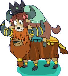 Size: 860x970 | Tagged: artist:bennimarru, cloven hooves, crown, jewelry, looking down, prince rutherford, regalia, royalty, safe, simple background, smiling, transparent background, yak, yona