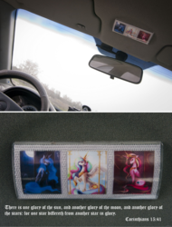 Size: 1019x1341 | Tagged: safe, artist:maocha, princess cadance, princess celestia, princess luna, alicornism, alicorns, bible verse, car, icon, irl, orthodox christianity, parody, photo, religion, text