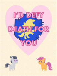 Size: 578x770 | Tagged: artist:bronybyexception, card, female, male, pony, rumble, rumbloo, safe, scootaloo, shipping, straight