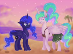 Size: 2771x2069 | Tagged: safe, artist:itoruna-the-platypus, princess celestia, princess luna, alicorn, pony, between dark and dawn, beach, bikini, clothes, coconut bikini, duo, ear piercing, earring, female, grass skirt, jewelry, mare, ocean, piercing, ponytail, royal sisters, siblings, signature, sisters, skirt, swimsuit, twilight (astronomy)