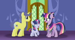 Size: 1150x626 | Tagged: safe, artist:wispyaxolotl, comet tail, twilight sparkle, oc, oc:star swish, alicorn, pony, unicorn, base used, blank flank, cometlight, family, female, filly, male, new crown, offspring, parent:comet tail, parent:twilight sparkle, parents:cometlight, rainbow power, shipping, straight, twilight sparkle (alicorn), twilight's castle
