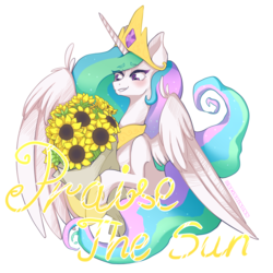 Size: 3000x3000 | Tagged: safe, artist:seishinann, princess celestia, alicorn, pony, bouquet, celestia day, female, flower, mare, praise the sun, signature, simple background, solo, sunflower, transparent background