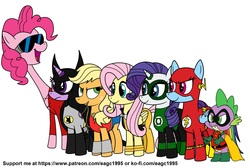 Size: 2084x1400 | Tagged: safe, artist:eagc7, applejack, fluttershy, pinkie pie, rainbow dash, rarity, spike, twilight sparkle, alicorn, dragon, earth pony, pegasus, pony, unicorn, batman, cape, clothes, commission, costume, crossover, dc comics, female, green lantern, justice league, lasso, male, mane seven, mane six, mare, plastic man, ring, robin, rope, simple background, superhero, the flash, twilight sparkle (alicorn), vixen, wonder woman