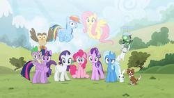 Size: 1920x1080 | Tagged: safe, artist:brutalweather studio, angel bunny, fluttershy, gummy, owlowiscious, pinkie pie, rainbow dash, rarity, spike, starlight glimmer, tank, trixie, twilight sparkle, winona, alicorn, alligator, cat, dog, earth pony, pegasus, pony, rabbit, unicorn, animal, female, male, pet six, ponyville's incident, twilight sparkle (alicorn)