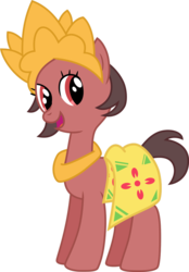 Size: 746x1072 | Tagged: artist:hendro107, artist:nusaponycon, batik, crown, earth pony, happy, indonesia, jewelry, necklace, nusaponycon, oc, oc:salasika, pony, regalia, safe, salasikanusaponycon
