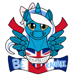 Size: 800x800 | Tagged: alicorn, alicorn oc, artist:vegasyote, bow, british, female, flag, hair bow, mare, oc, oc:fleurbelle, pony, safe, smiling, union jack
