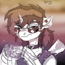 Size: 3125x3125 | Tagged: safe, artist:brainiac, oc, oc only, oc:blackjack, cyborg, pony, unicorn, fallout equestria, fallout equestria: project horizons, alcohol, augmented, collar, cyber legs, fanfic, fanfic art, female, hooves, horn, mare, solo, sunglasses