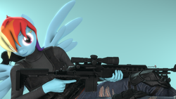 Size: 1920x1080 | Tagged: 3d, anthro, artist:spinostud, clothes, female, gun, hair over one eye, looking at you, m14 ebr, pegasus, rainbow dash, rainbow punk, safe, solo, source filmmaker, weapon