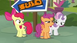 Size: 1920x1080 | Tagged: safe, screencap, apple bloom, scootaloo, sweetie belle, earth pony, pegasus, pony, unicorn, the last crusade, chained up, cutie mark, cutie mark crusaders, female, filly, foal, out of context, shackles, the cmc's cutie marks, trio, written equestrian