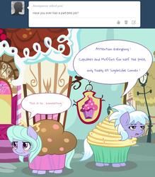 Size: 750x856   Tagged: safe, artist:marikaefer, cloudchaser, flitter, pony, ask flitter and cloudchaser, cupcake costume, embarrassed, sugarcube corner