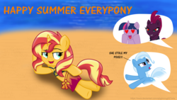 Size: 3840x2160 | Tagged: safe, artist:ejlightning007arts, artist:sinkbon, fizzlepop berrytwist, sunset shimmer, tempest shadow, trixie, twilight sparkle, pony, unicorn, beach, bikini, bikini top, broken horn, clothes, draw me like one of your french girls, equestria girls outfit, female, heart, heart eyes, horn, implied lesbian, implied shipping, implied tempestlight, lesbian, mare, sarong, shipping, speech bubble, sunsetsparkle, swimsuit, tempestlightshimmer, tempestshimmer, wingding eyes