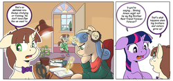 Size: 1000x466 | Tagged: artist:muffinshire, book, comic, comic:twilight's first day, desk, female, filly, filly twilight sparkle, headphones, kite, lamp, magic, oc, oc:dizzy star, oc:swirling star, pencil, plant, pony, safe, scissors, studying, telekinesis, twilight sparkle, wip, younger