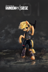 Size: 1326x1996 | Tagged: applejack, artist:smg11-on-ddjrb, clothes, earth pony, gun, pony, poster, rainbow six siege, safe, solo, weapon