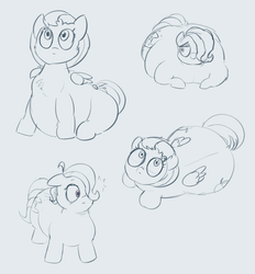 Size: 2344x2524 | Tagged: safe, artist:comfyplum, oc, oc:comfy plum, oc:sleepy treat, earth pony, pegasus, pony, ahoge, belly, big belly, chubby, fat, large butt, monochrome, obese, plump, ponified animal photo, sketch, the ass was fat, wip